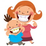 Happy mom and son smiling showing their colorful braces